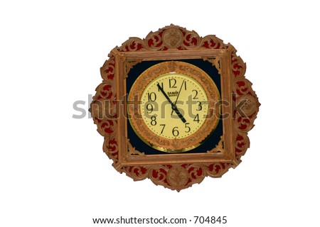 sandlewood clock isolated on a white background - stock photo