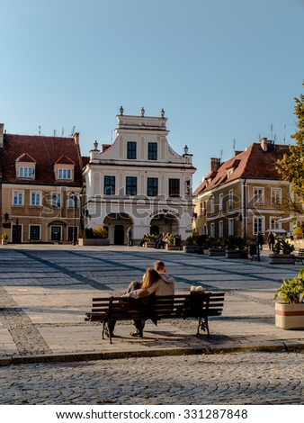 SANDOMIERZ, POLAND 16 October, 2015 .: Peace and rest on the old town square in Sandomierz, Poland - stock photo