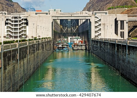 SANDOUPING, CHINA - April 15, 2016: The Three Gorges Dam Shiplift. The TGP shiplift is the world's largest, capable of carrying a 3,000-ton passenger liner or cargo boat at a time - stock photo