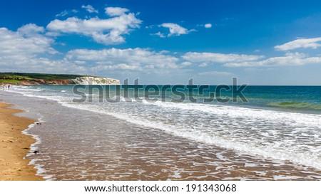 Sandown Beach on the Isle Of Wight England UK Europe - stock photo