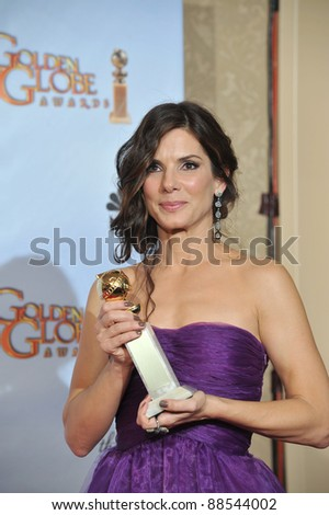 Sandra Bullock at the 67th Golden Globe Awards at the Beverly Hilton Hotel. January 17, 2010  Beverly Hills, CA Picture: Paul Smith / Featureflash - stock photo