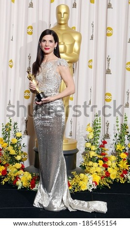Sandra Bullock, in a Marchesa gown, Best Actress for The Blind Side, 82nd Annual Academy Awards Oscars Ceremony-PRESS ROOM, The Kodak Theatre, Los Angeles March 7, 2010 - stock photo