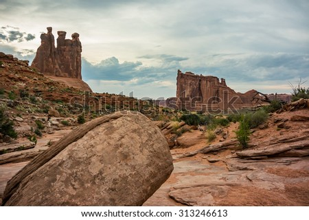 Sandstone and slick rock in front of the Three Gossips and Courthouse Rock
