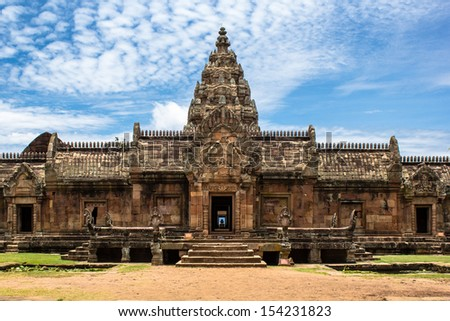 sandstone castle, phanom rung in Buriram province, Thailand. Religious buildings constructed by the ancient Khmer art.The sandstone castle, Phanom rung  built between the 10th and 13th centuries A.D.