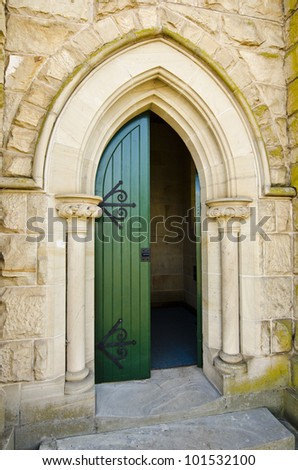 Sandstone church and green door.  Wesley Church, (now the Uniting Church) Ross, Tasmania, Australia. The church was built in 1885. - stock photo
