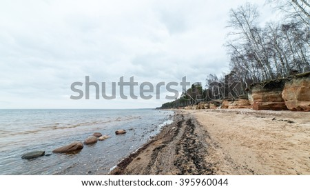 sandstone cliffs by the river in Gauja national park in latvia