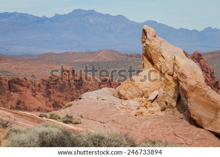 sandstone desert landscape in Valley of Fire State Park in Nevada - stock photo