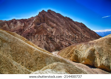 Sandstone details and vista. Death Valley National Park, California.