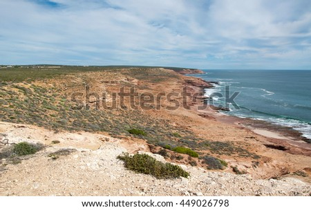 Sandstone, dunes and Indian Ocean views at Red Bluff in Kalbarri,Western Australia/Red Bluff: Coastal Land and Sea/Kalbarri, Western Australia - stock photo