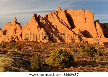 Sandstone fins at the Devil's Garden in Arches National Park near Moab, Utah
