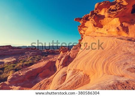 Sandstone formations in Nevada - stock photo