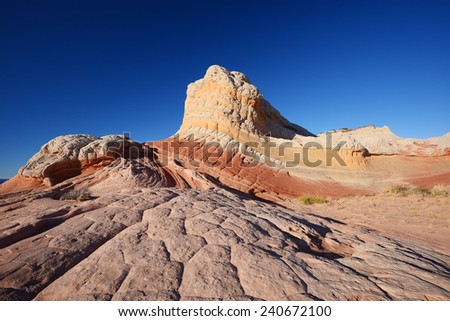sandstone geological feature at white pocket in arizona - stock photo