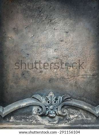 Sandstone grunge board with engraved ornament - stock photo
