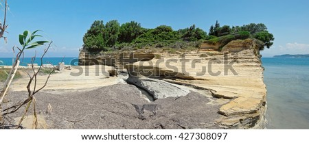 Sandstone rock formation of Canal D'Amour at Sidari, Corfu island in Greece