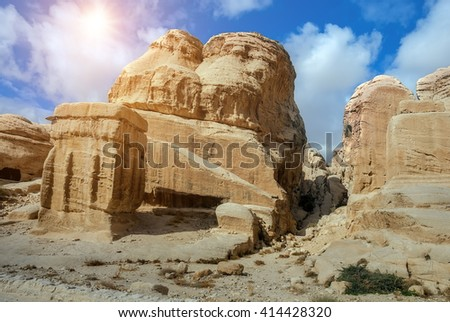 Sandstone rocks in the ancient city of Petra. Jordan. The city of Petra was lost for over 1000 years. Now one of the Seven Wonders of the Word - stock photo