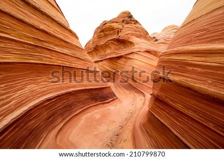 sandstone wind erosion in the wave Coyote Butte Arizona - stock photo