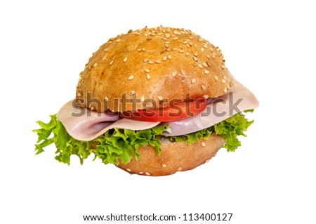 Sandwich - a bread roll with ham fillings.