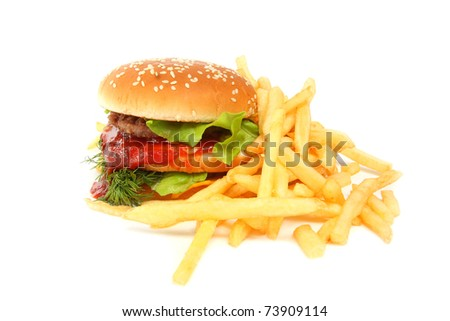 Sandwich and french fries isolated on white - stock photo