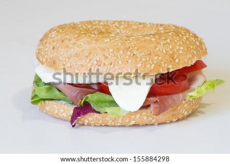 sandwich bagel - stock photo