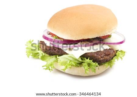 Sandwich big Hamburger close up on white - stock photo