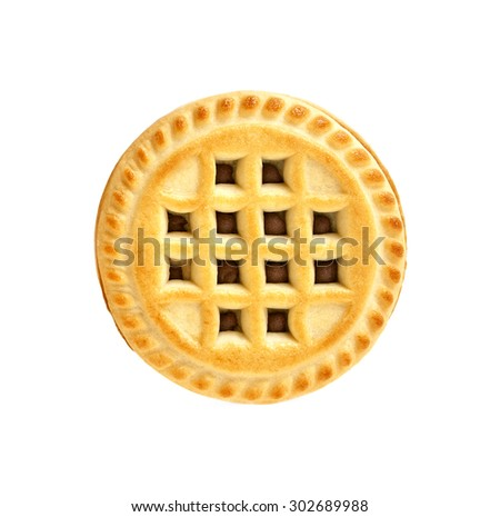 Sandwich biscuit with chocolate filling on a white background - stock photo