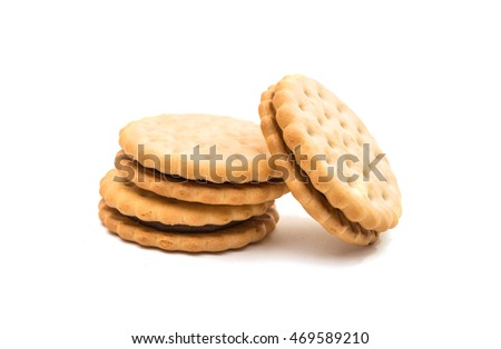 Sandwich biscuits, filled with chocolate, isolated on white