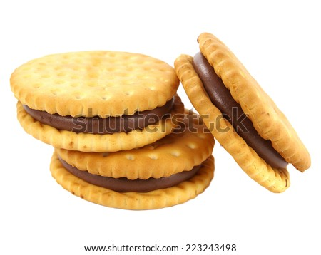 Sandwich biscuits, filled with chocolate, isolated on white background - stock photo