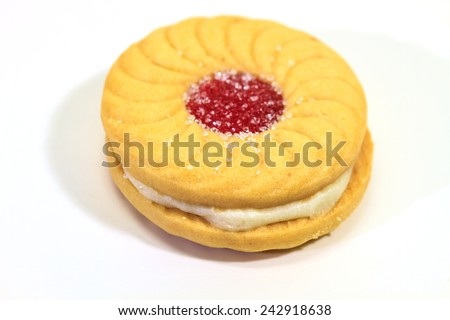 Sandwich biscuits with cream on white background  - stock photo