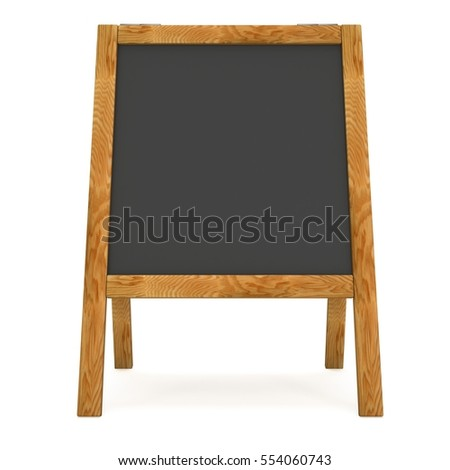 Sandwich board. Black menu outdoor display with clipping path. Trade show booth. 3d render isolated on white background. High Resolution Template for your design.
