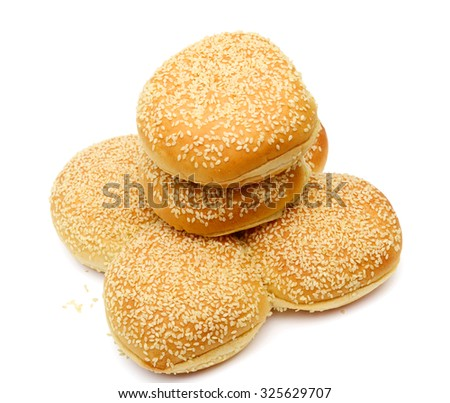 sandwich buns with sesame seeds isolated on white
