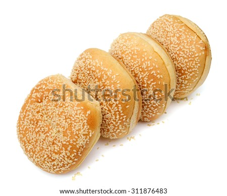 sandwich buns with sesame seeds on top isolated on white