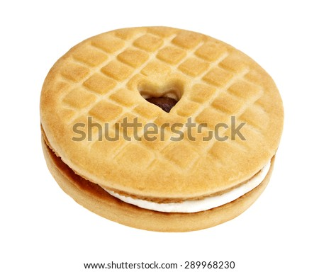 Sandwich cookie on a white background - stock photo
