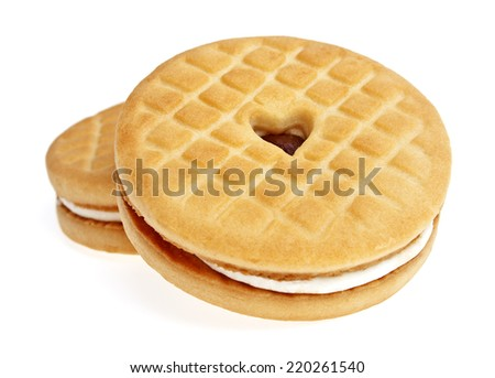 Sandwich cookies with jam on a white background - stock photo