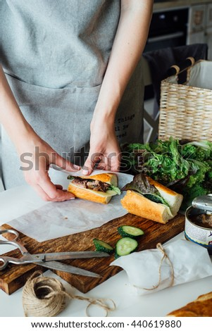 sandwich cooking - stock photo