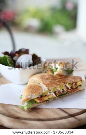 Sandwich egg and avocado - stock photo