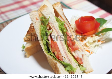 Sandwich ham and cheese on dish