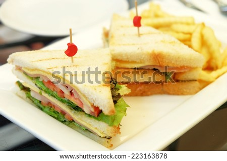 sandwich ham cheese lettuce tomato and onion - stock photo