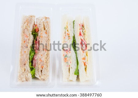 Sandwich in a plastic box on white background - stock photo