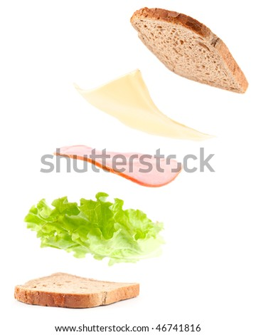 sandwich ingredients in air, isolated on white - stock photo