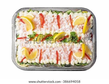 Sandwich layer cake from sweden known as smorgastarta - stock photo