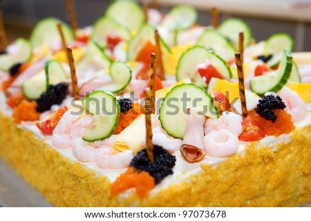 Sandwich Layer Cake with selective focus - stock photo