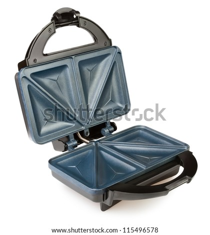 sandwich maker open on white background - stock photo