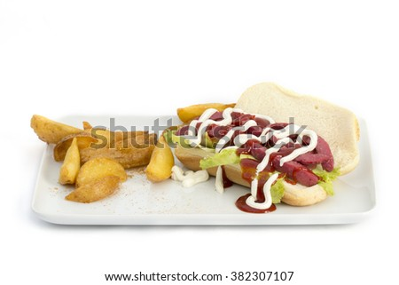 sandwich of bread on a white background
