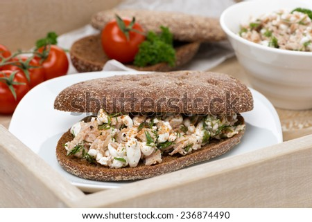 sandwich of rye bread with tuna and homemade cheese, close-up, horizontal - stock photo