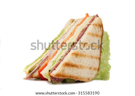 sandwich on a white background big sandwich with bacon and cheese on a white background - stock photo