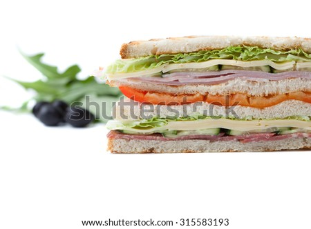 sandwich on a white background big sandwich with sweet pepper, bacon and cheese on a white background