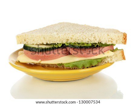 Sandwich on plate isolated on white