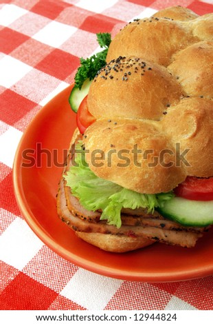 Sandwich on red plate