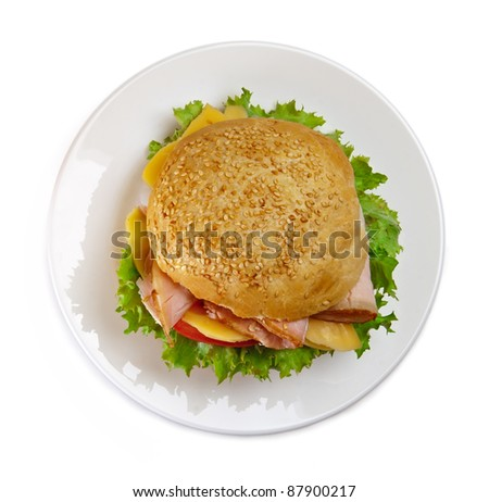 Sandwich on the plate, white background - stock photo
