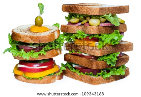 Sandwich on the white background - stock photo